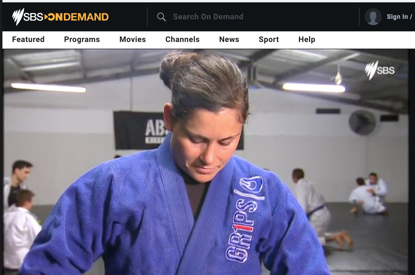 Athlete Shantelle Thompson, at Brazilian Jiu Jitsui training